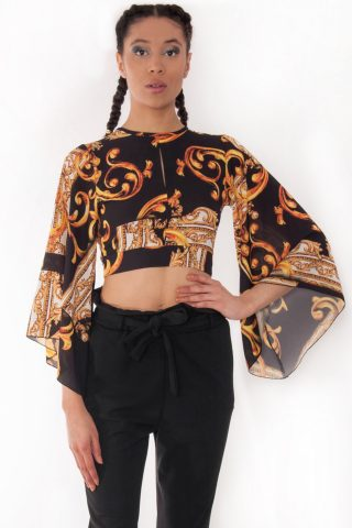Sorcha Gold Bell Sleeve Scarf Print Crop Top