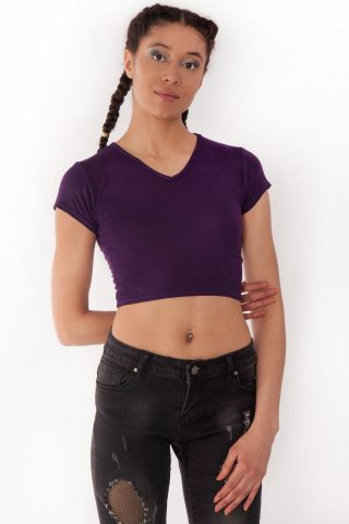 Kendall Purple V-Neck Crop Tee