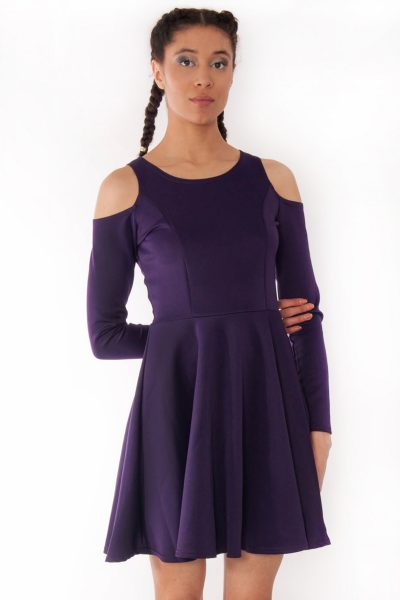 Alexa Purple Cold Shoulder Scuba Skater Swing Dress