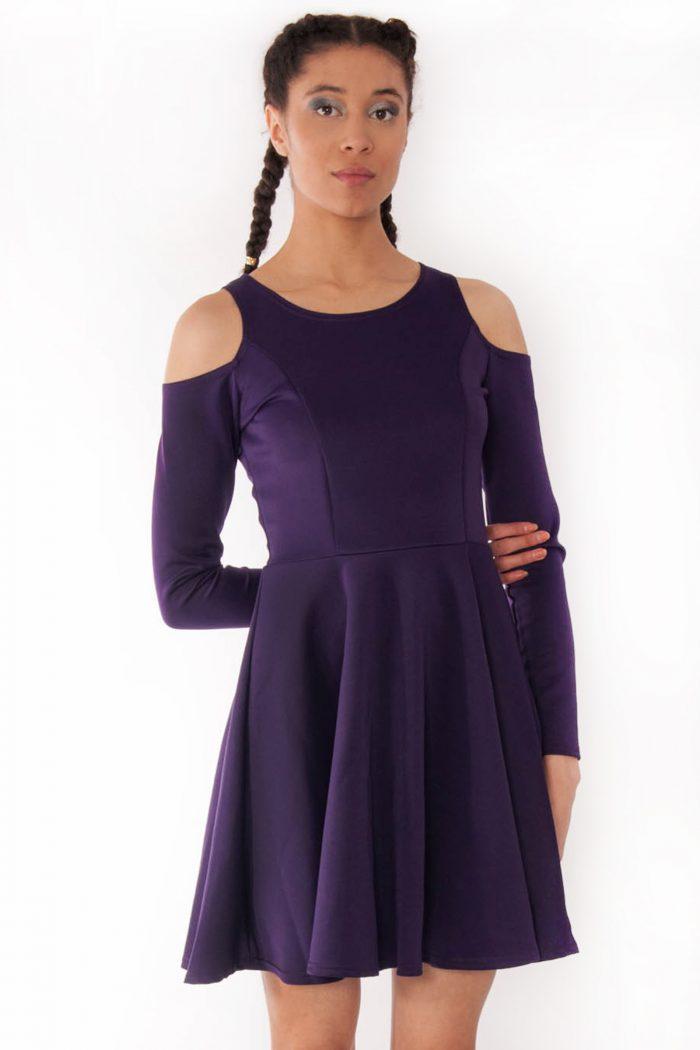 Alexa Purple Cold Shoulder Scuba Skater Swing Dress