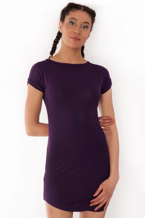 Fae Purple Bodycon Curved Hem Dress