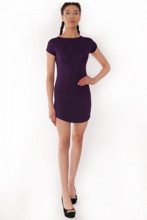 Fae Purple Bodycon Curved Hem Dress