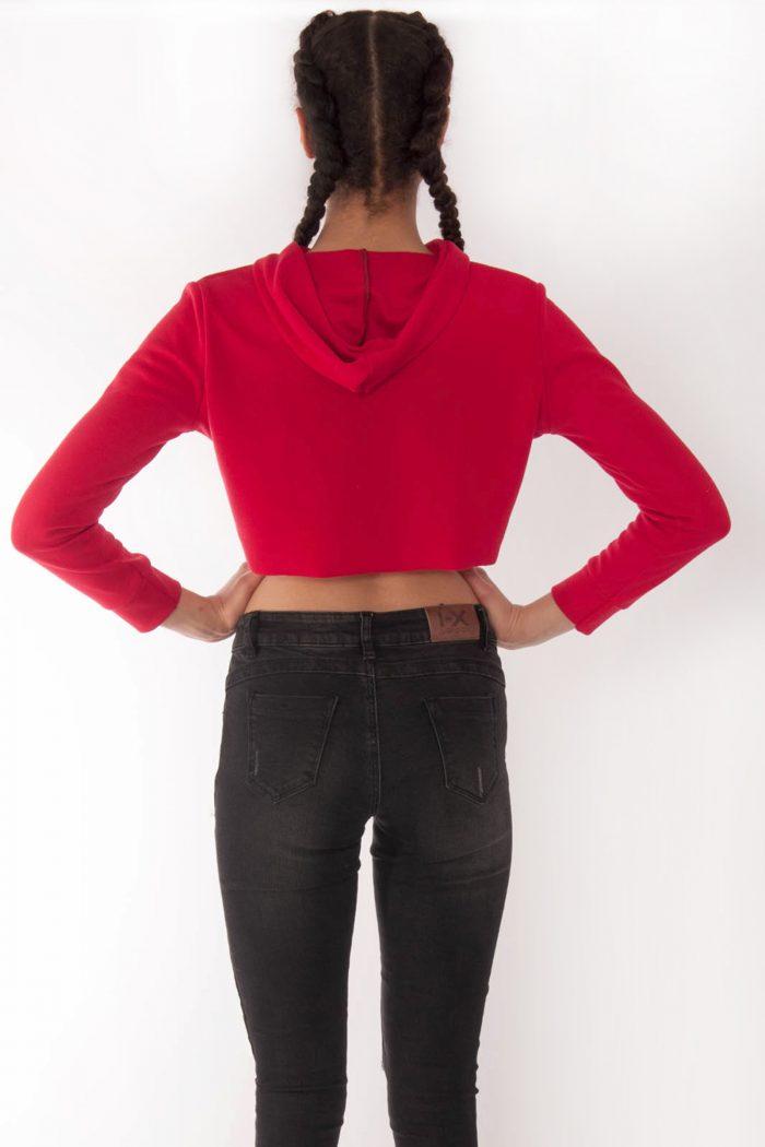 Sabrine Red Crop Hoodie