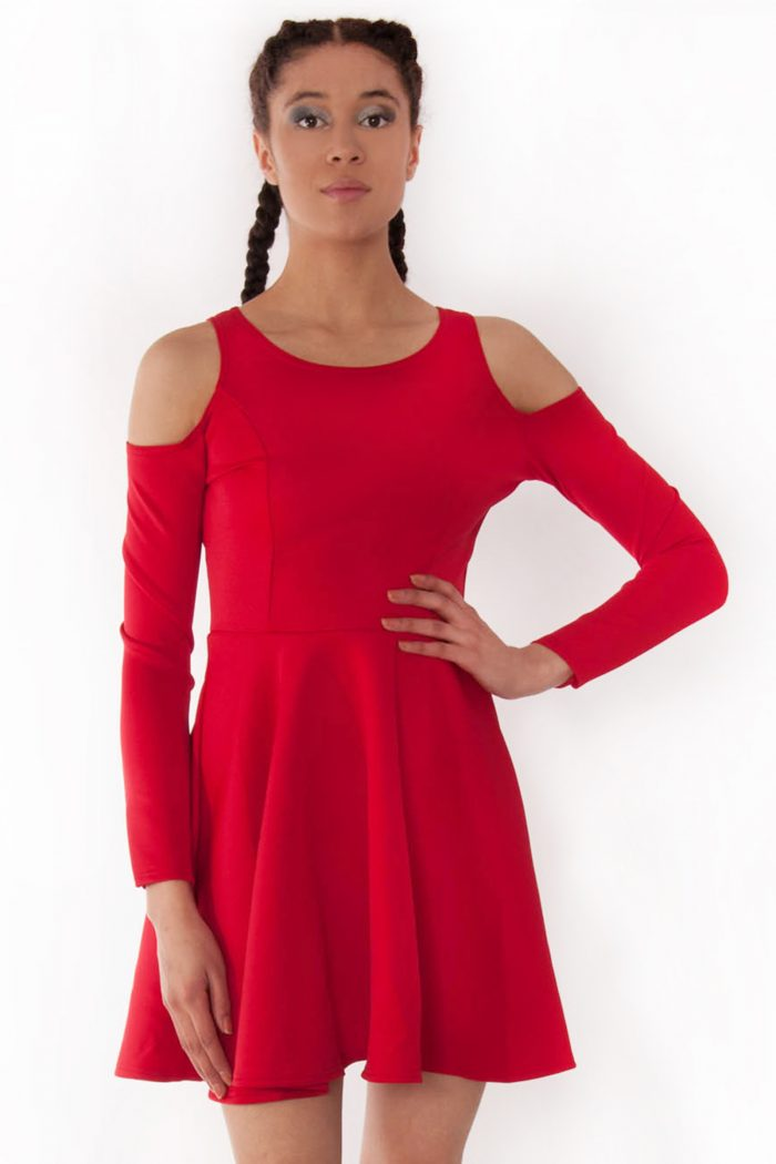 Alexa Red Cold Shoulder Scuba Skater Swing Dress