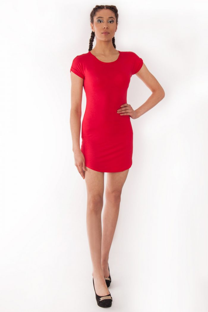 Fae Red Bodycon Curved Hem Dress