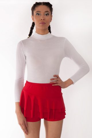Kerry Red Triple Frill High Waisted Skorts