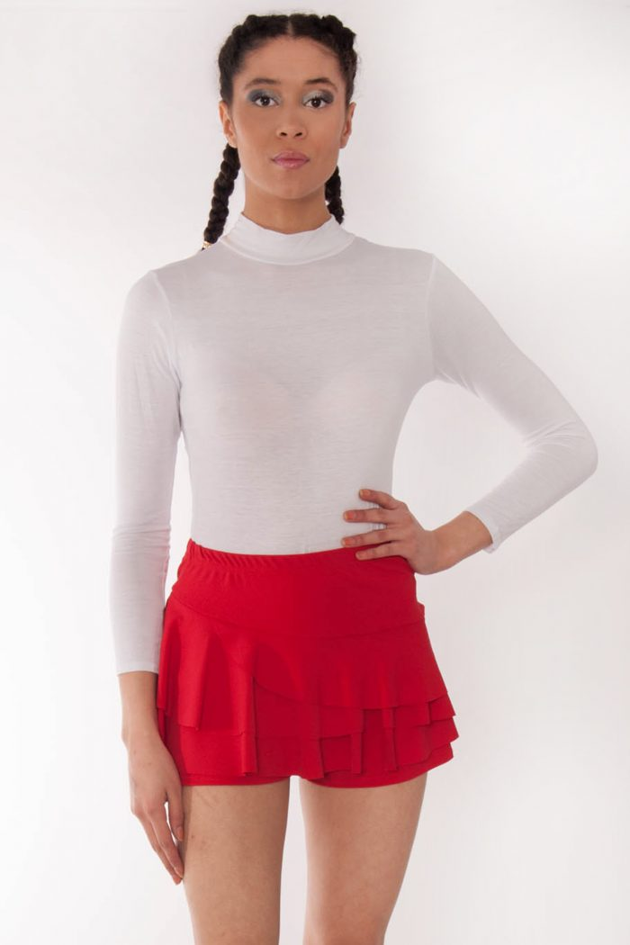 Kerry Red Triple Frill High Waisted Skort