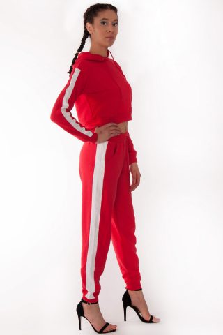 Alexis Red White Side Stripe Loungewear Set