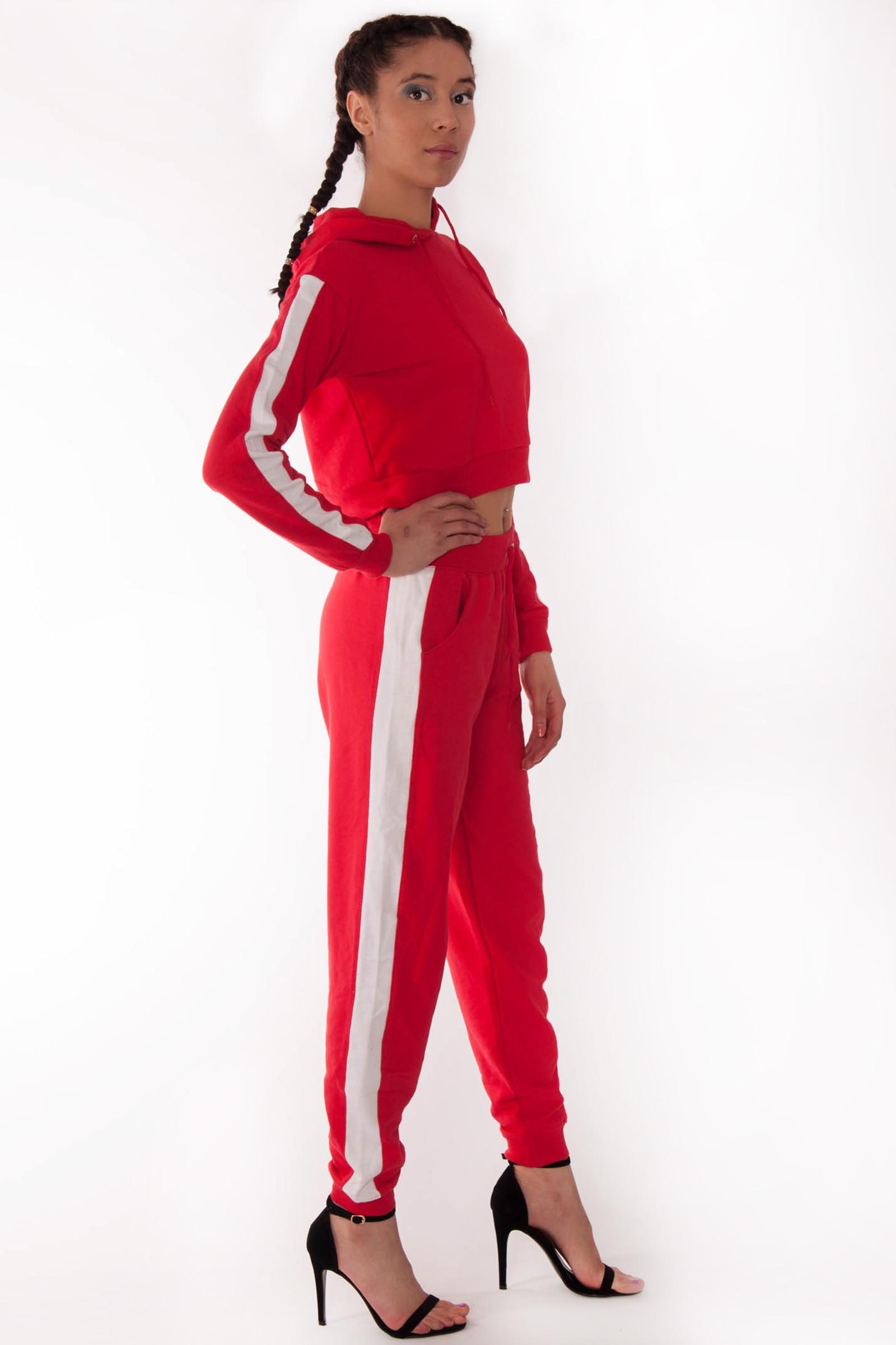 Alexis Red White Side Stripe Loungewear Set  ed9def4db