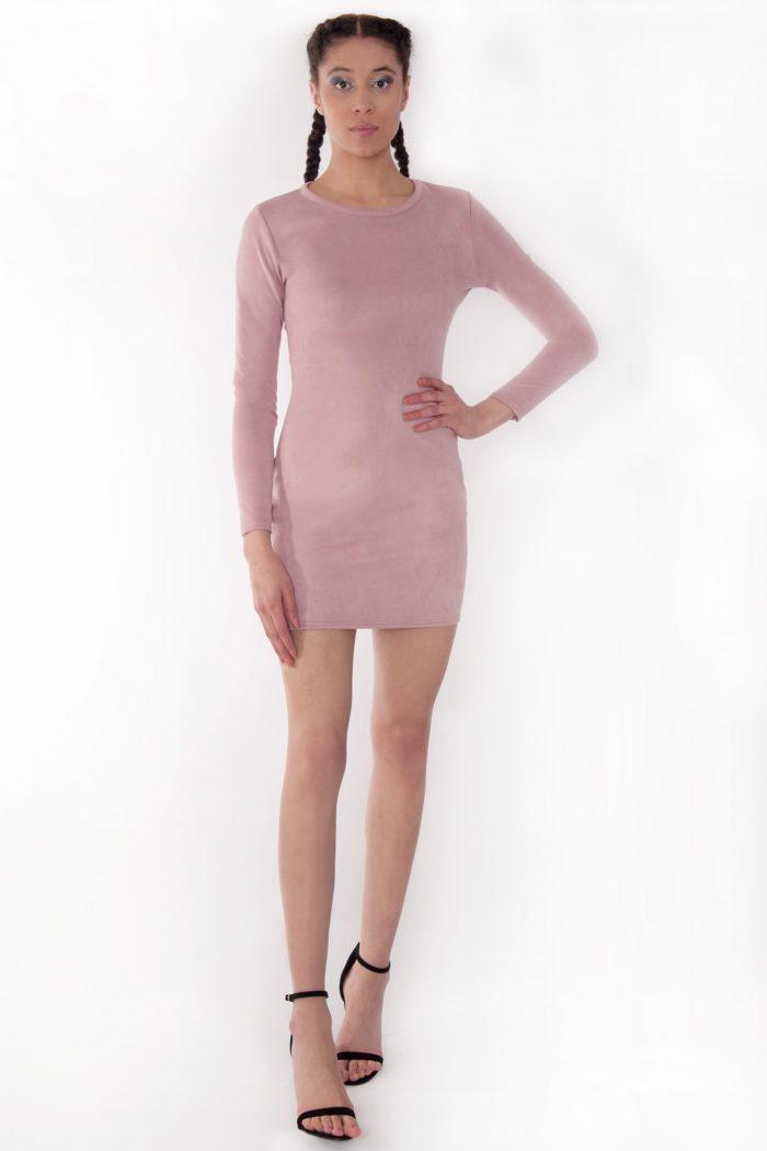 Rarna Rose Pink Suede Long Sleeve Bodycon Dress