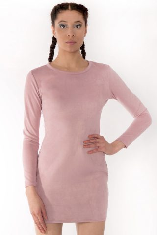 Rarna Rose Pink Suede Long Sleeve Bodycon Dress