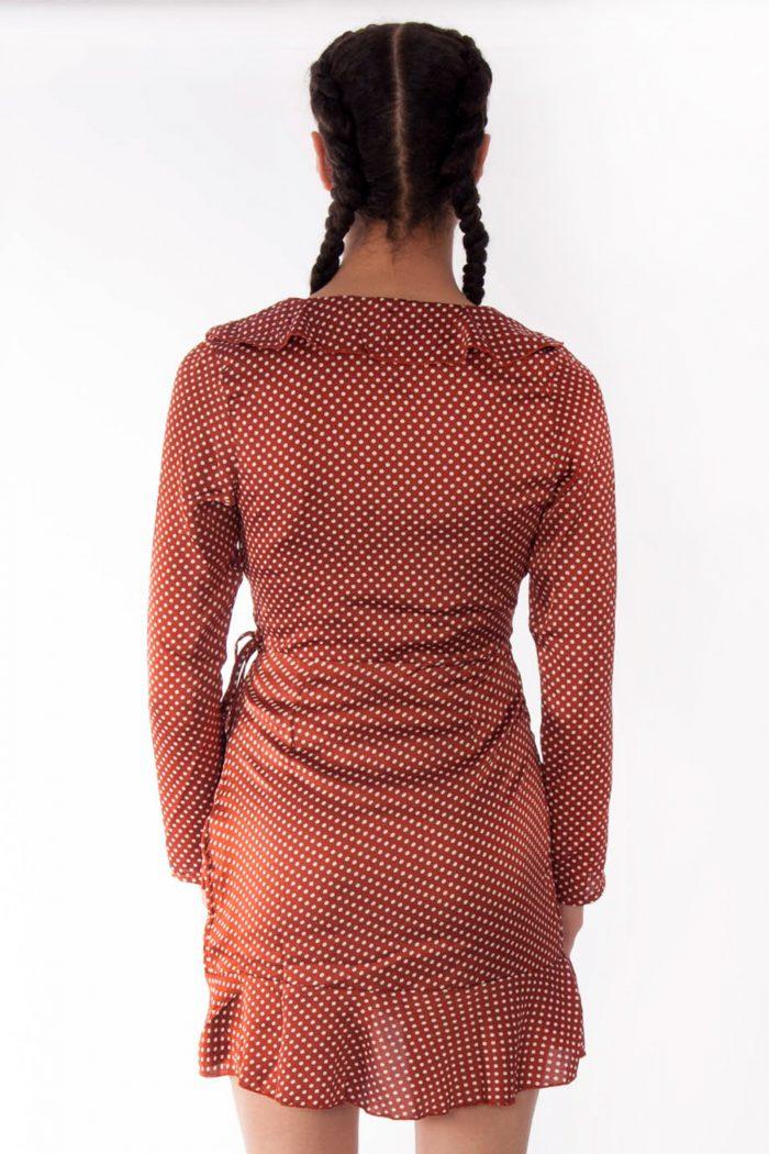 Keira Wine Polka Dot Satin Wrapover Dress
