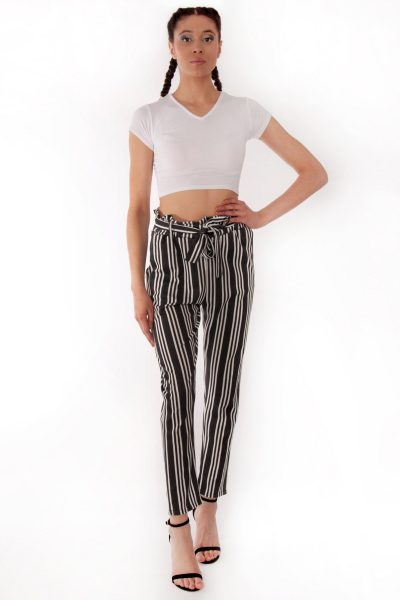Jenny Black White Striped Frill Trousers