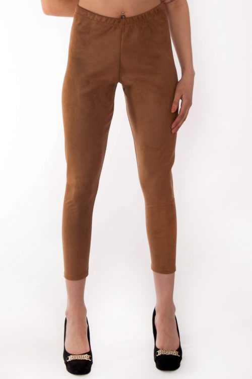 Andrea Camel Suede Slim Fit Leggings
