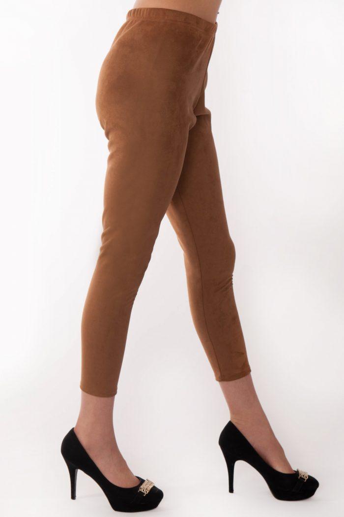 Andrea Camel Suede Slim Fit Leggings