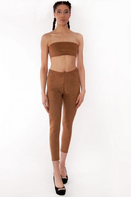 Camel Suede Slim Fit Leggings
