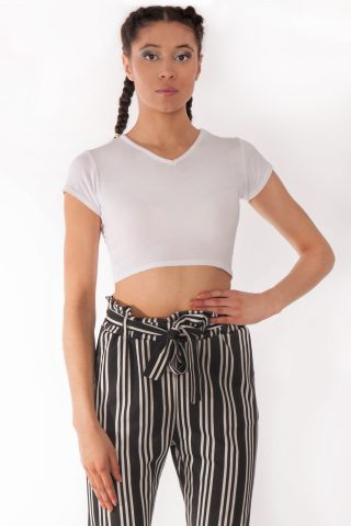 Kendall White V-Neck Crop Tee
