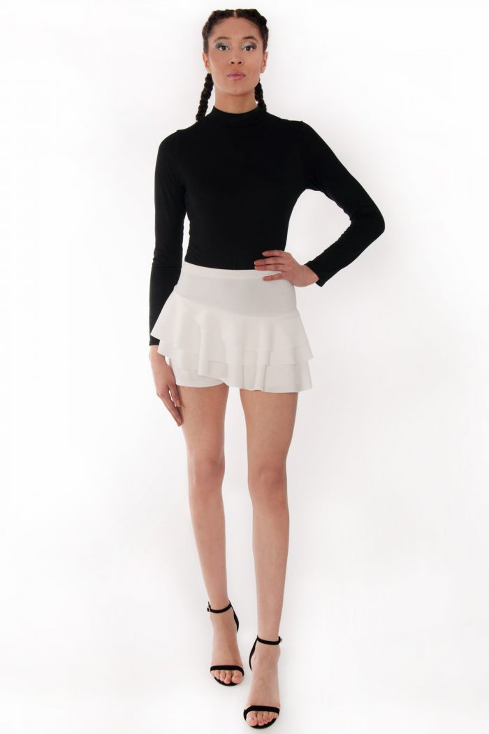 Kerry Cream Triple Frill High Waisted Skorts