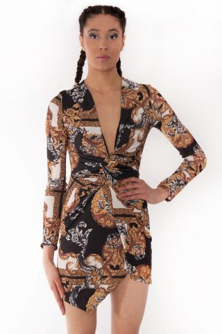 Soraya Gold Scarf Print Twist Knot Wrap Dress