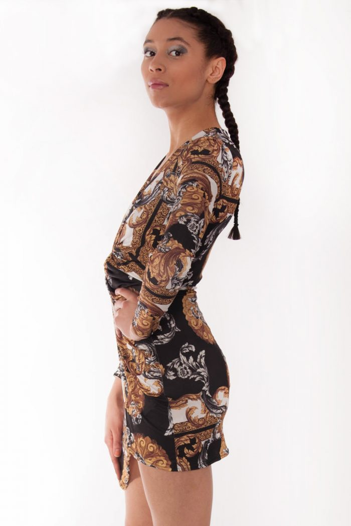 Soraya Gold Scarf Print Twist Knot Wrap Dress