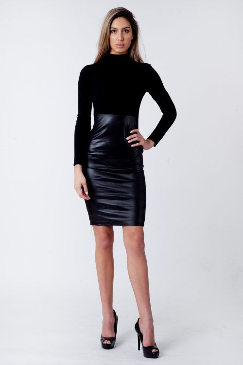 Faux Leather Panel Bodycon Midi Dress