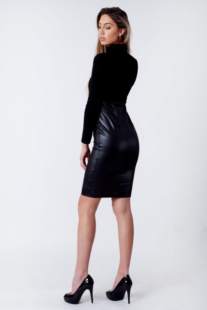 Faux Leather Panel Bodycon Midi Dress