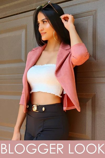 Pink Suedette Tailored Fit Blazer