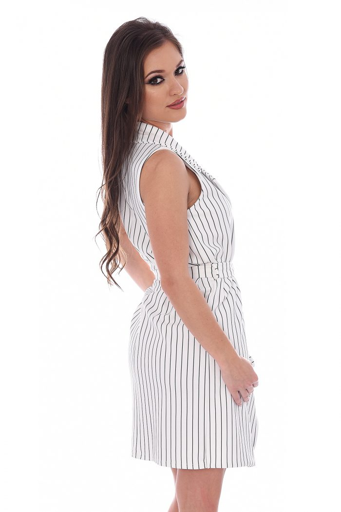 White Striped Sleeveless Blazer Dress