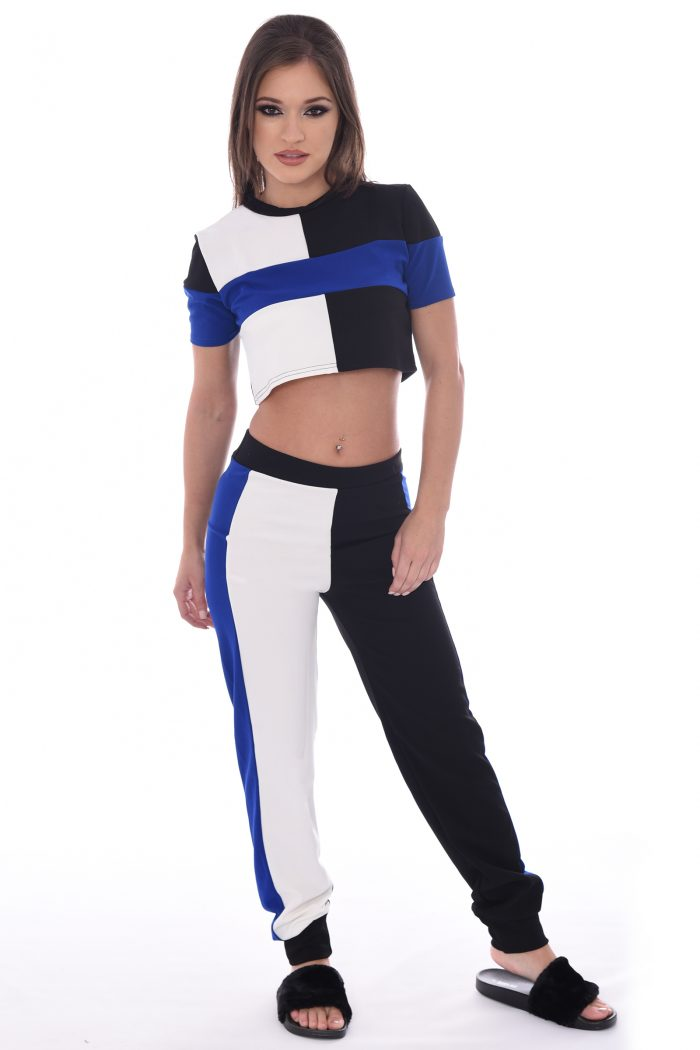 Kimmy Blue And Black Striped Block Co-ord