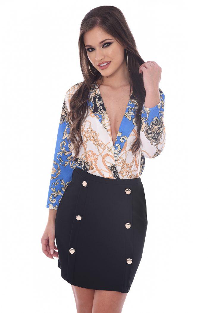 Lucille Blue Scarf Chain Print Plunge Bodysuit