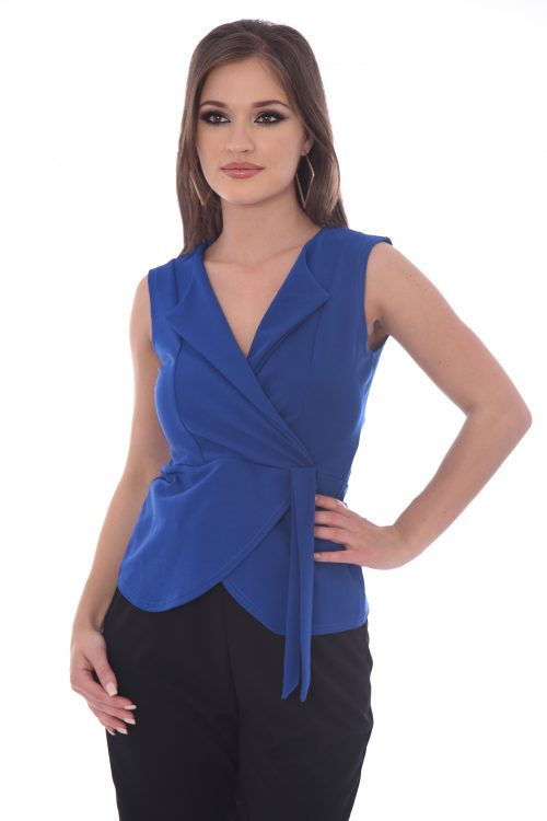 Royal Blue V Neck Wrap Tie Blazer Top