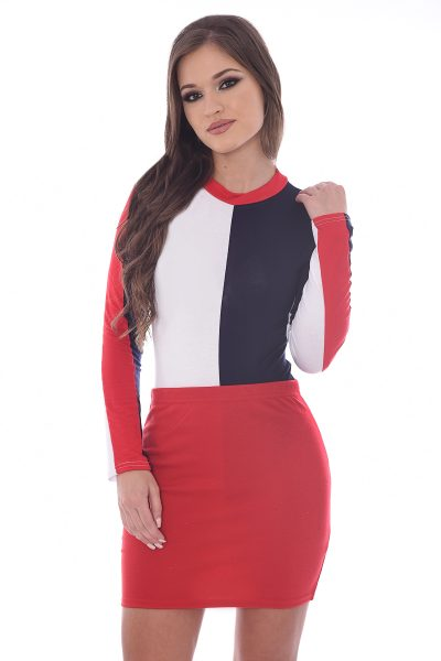 Poppy Red White Navy Colour Block Bodysuit