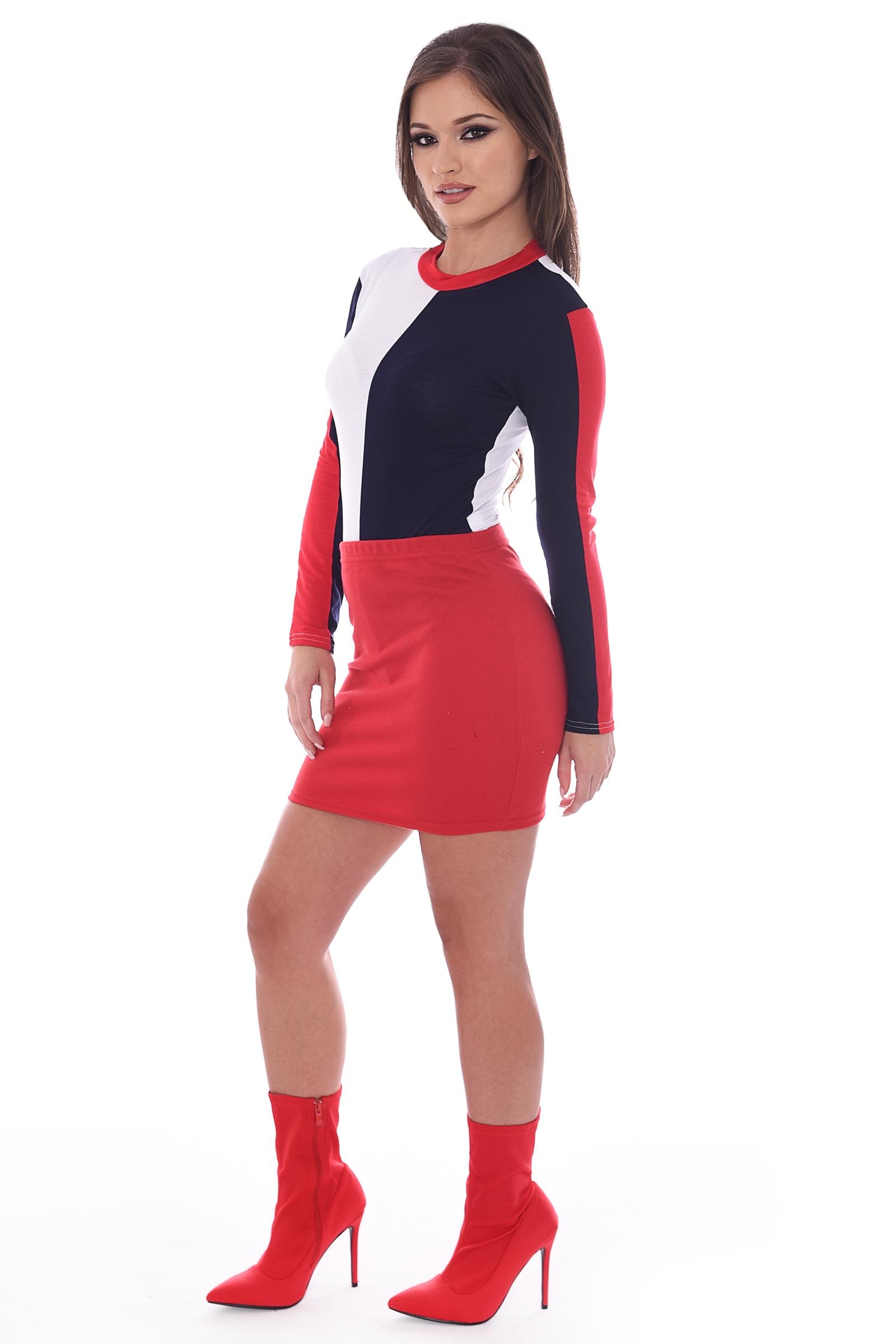 Poppy Red White Navy Colour Block Bodysuit