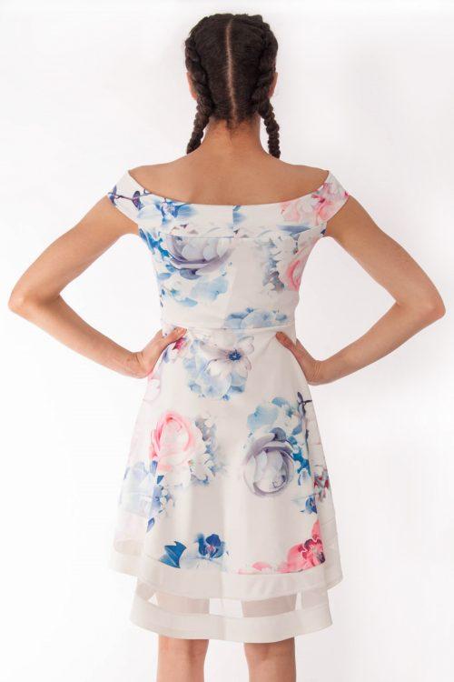 Clara Cream Floral Bardot Dip Mesh Hem Dress