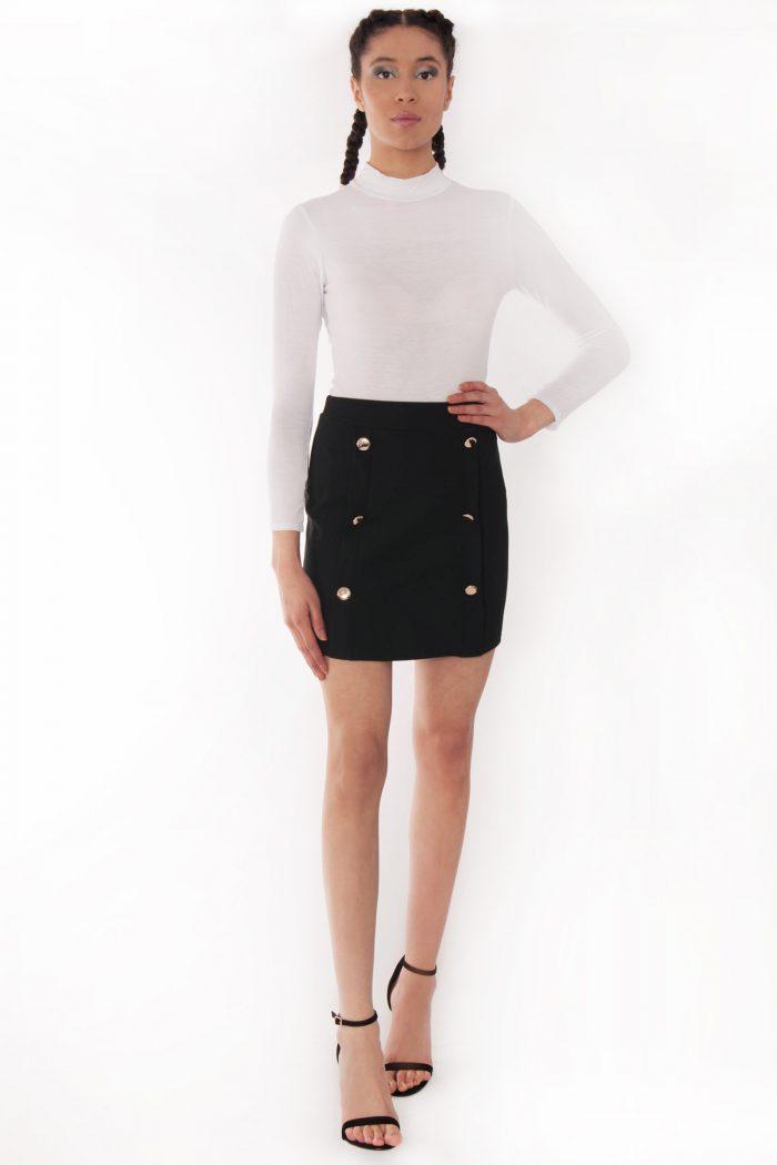 Pixi Blak High Waisted Gold Button Mini Skirt
