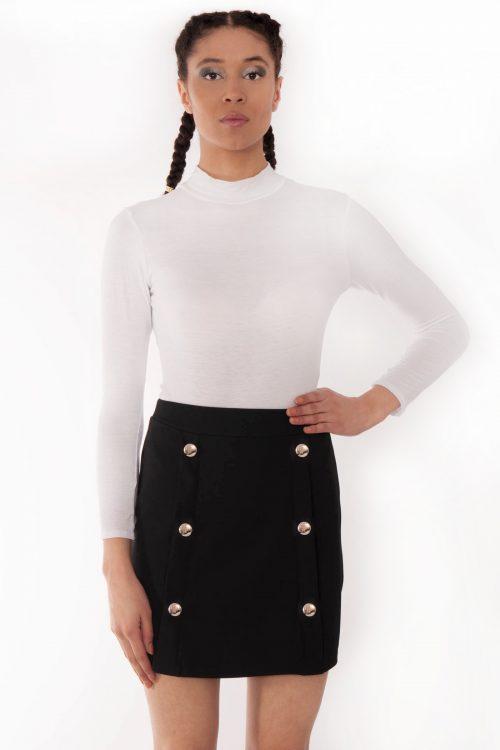 gold button skirt