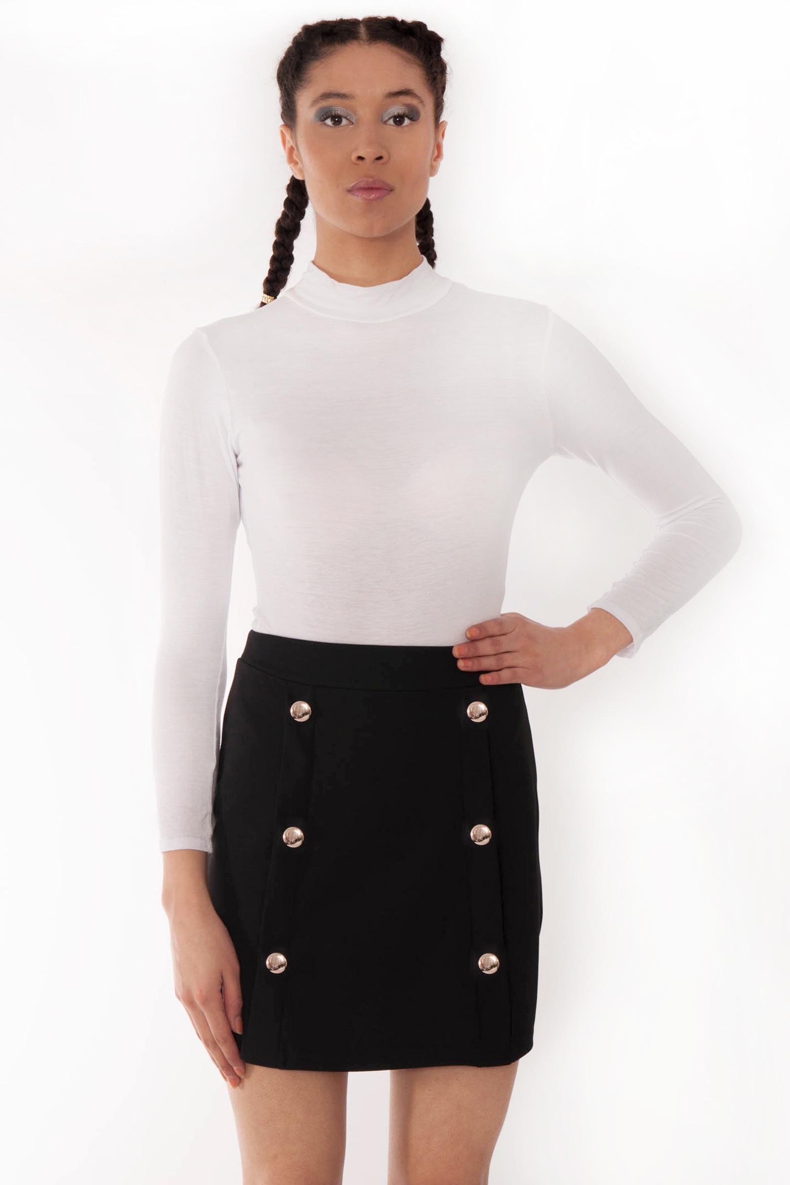 cf7555428c Pixi Black High Waisted Gold Button Mini Skirt | Bottoms | Modamore