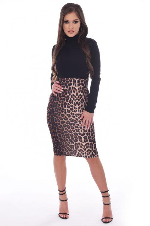 Trinity Leopard Print Panel Bodycon Midi Dress