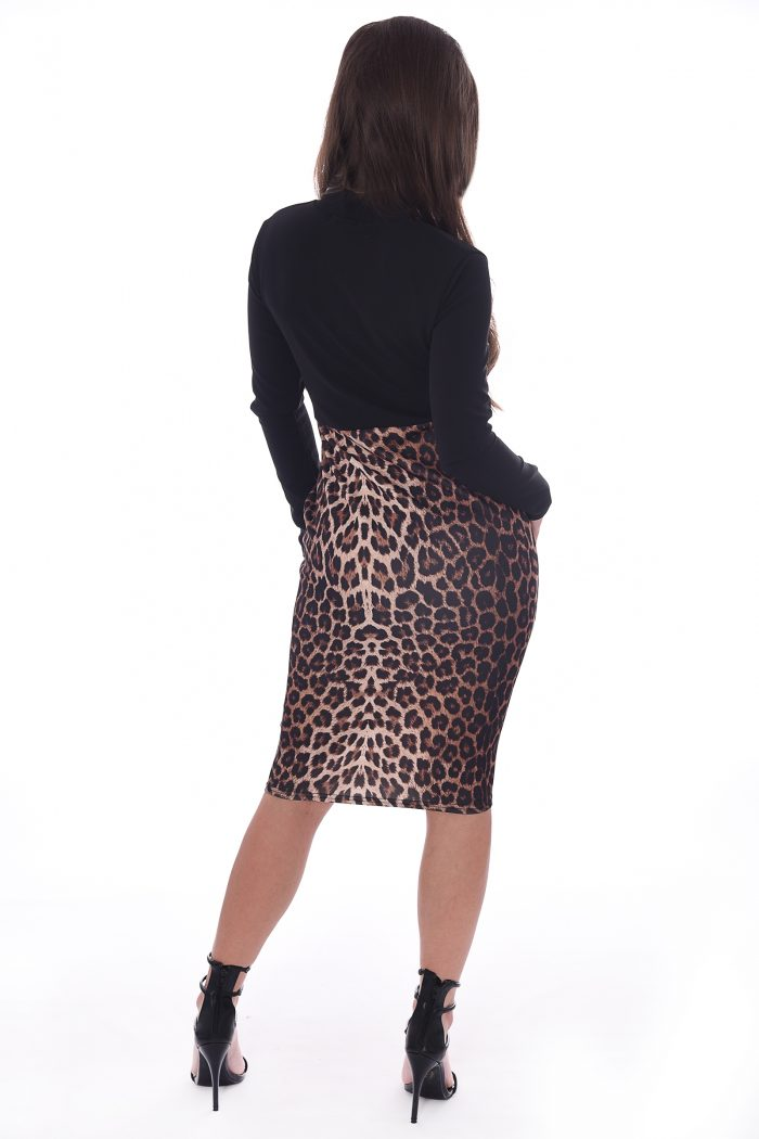 Trinity Leopard Print Panel Bodycon Midi Dress