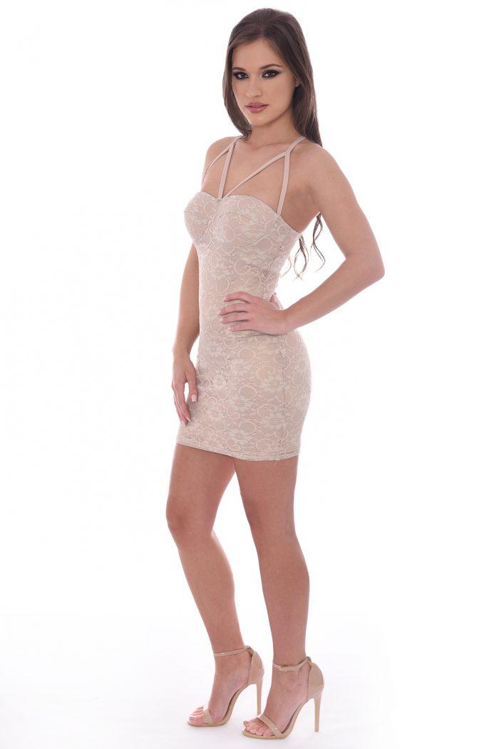 Amber Nude Metallic Lace Strappy Mini Bodycon Dress
