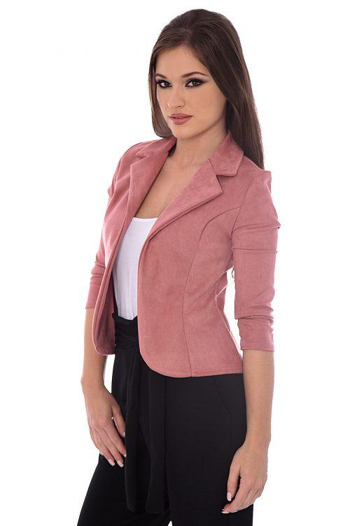 René Pink Suedette Tailored Fit Blazer