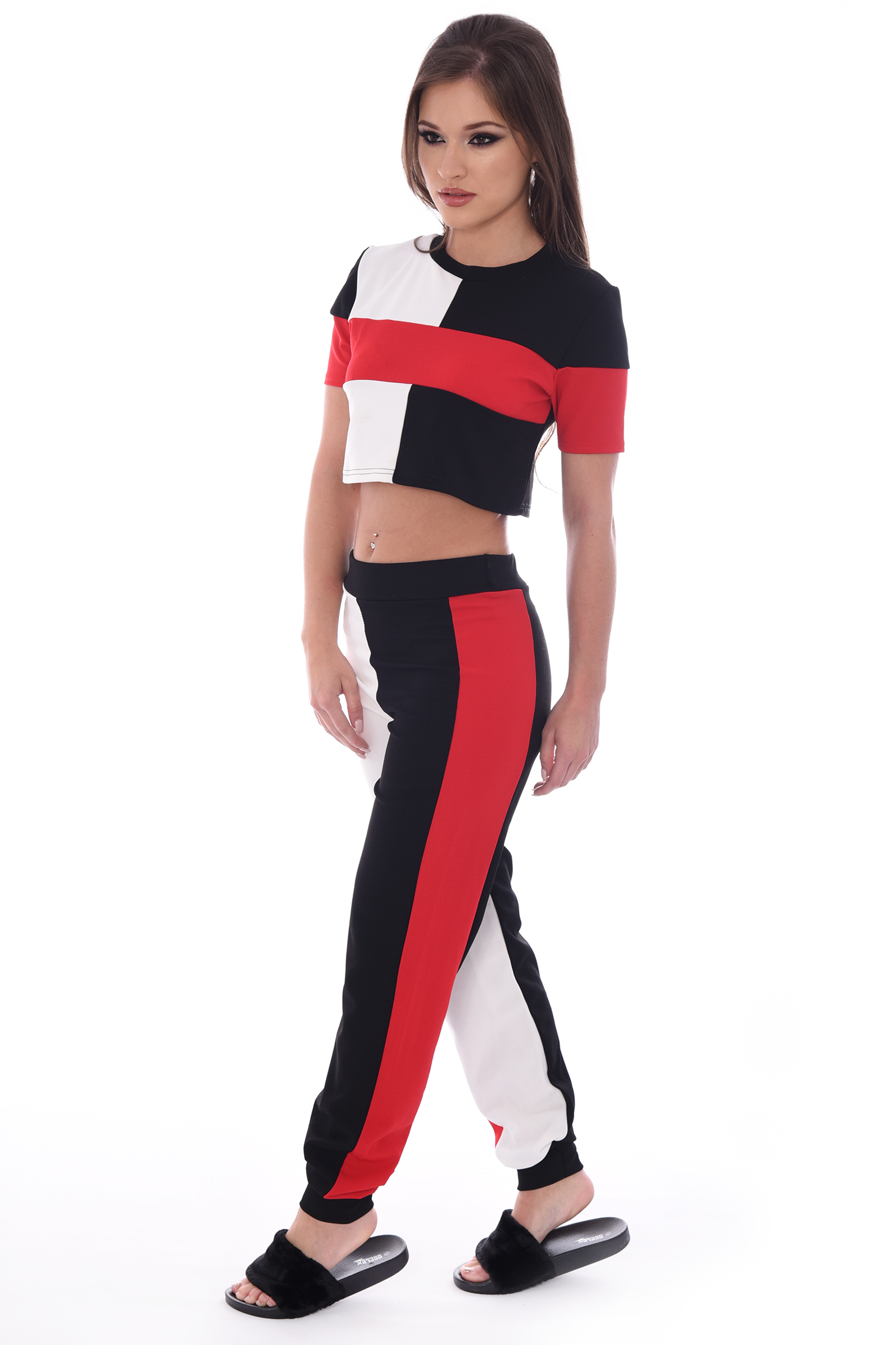 Kimmy Red And Black Striped Block Co-ord