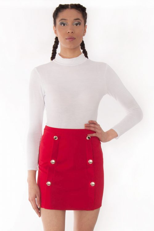 Pixi Red High Waisted Gold Button Mini Skirt