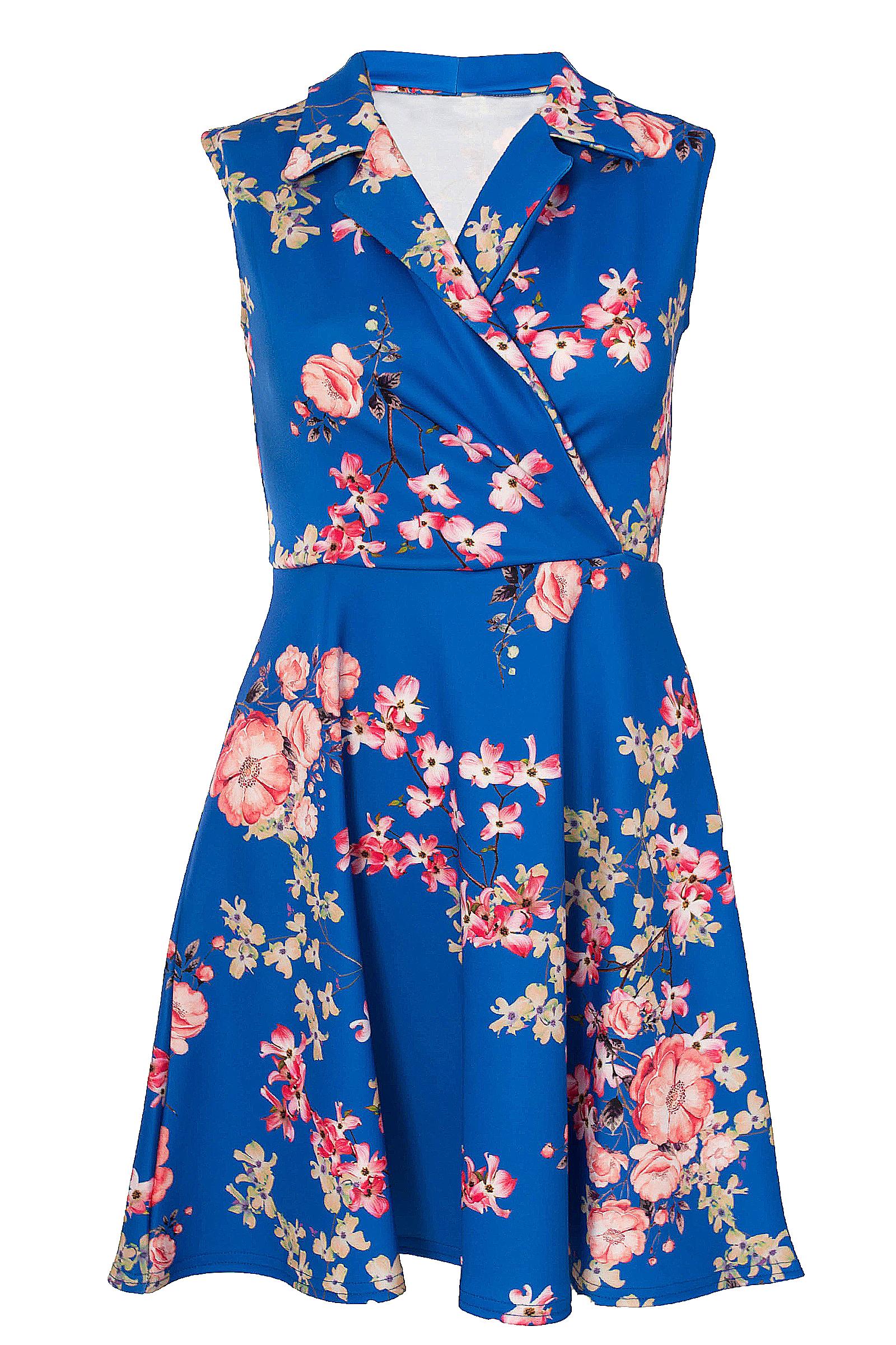 Royal Blue Floral Sleeveless Swing Dress