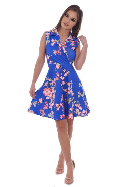Royal Blue Floral Sleeveless Swing Dress