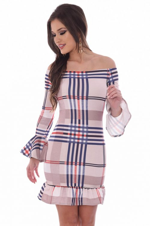 Elyse Beige Check Tartan Bardot Dress
