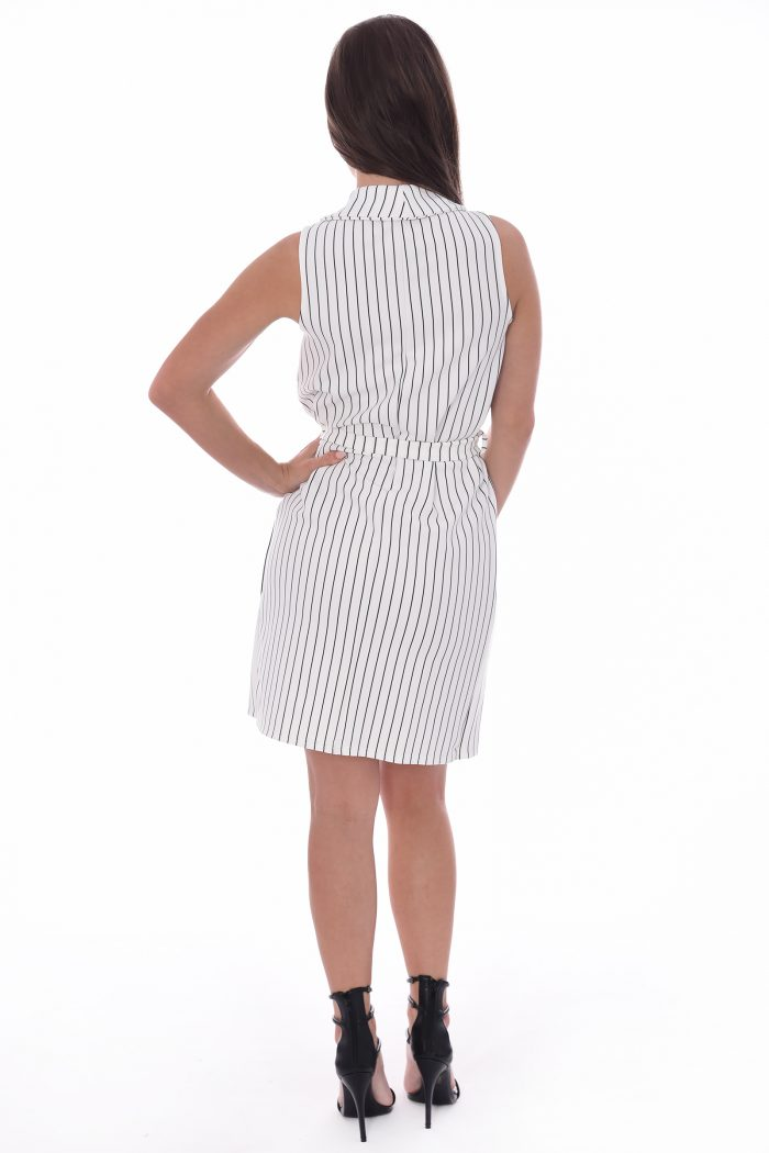 Daisy White Striped Sleeveless Blazer Dress