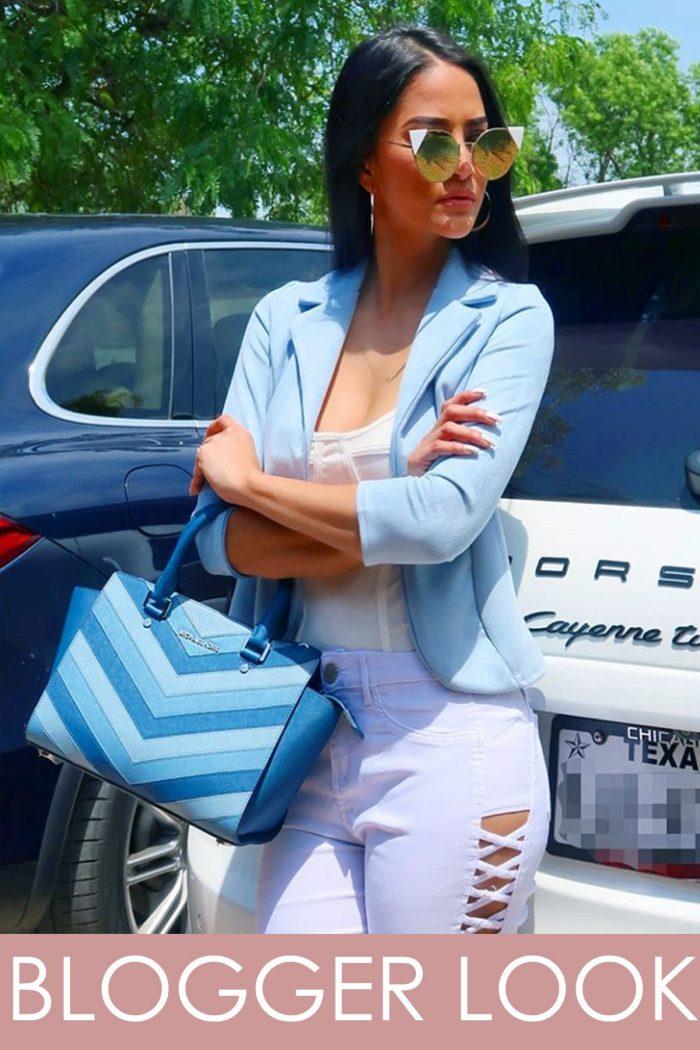 René Sky Blue Suedette Tailored Fit Blazer