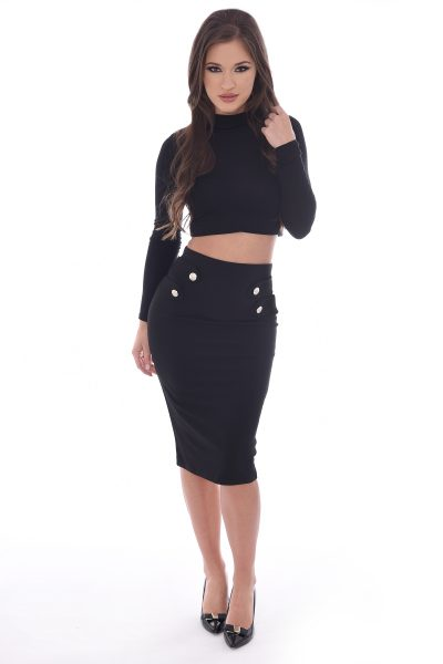 Justine Black Bodycon Gold Button Midi Skirt