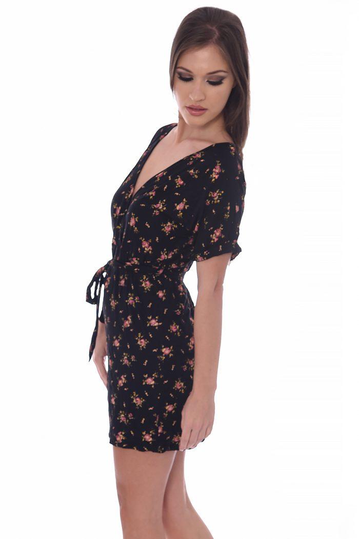 Cher Black Floral Wrap Over Dress